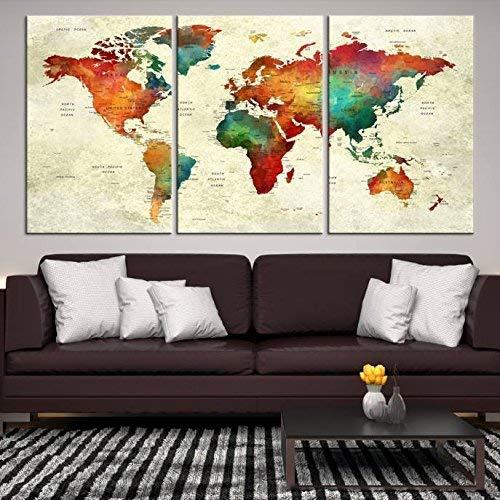 Amazon.com: World Map Push Pin Large Wall Art Canvas Print ...