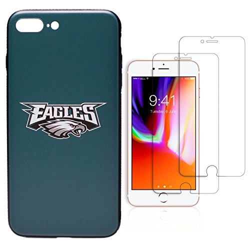 Price comparison product image iPhone 8 Plus case, iPhone 7 Plus case, NFL Team Theme, TPU/PC Dual Protection, Give 2 Tempered Glass Screen Protectors Extra Value Set (Philadelphia Eagles)