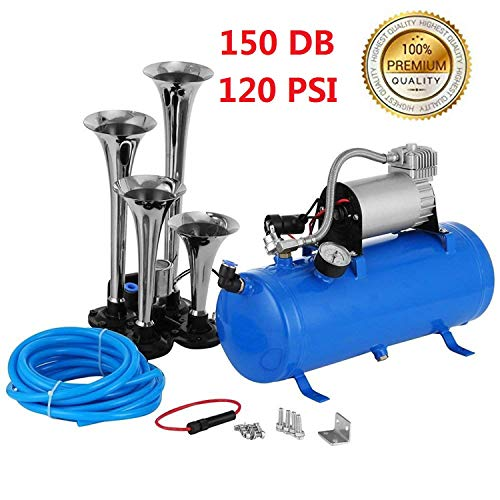 150DB Super Loud Train Horns kit for Trucks, 4 Air Horn Trumpet for Car Truck Train Van Boat, with 120 PSI 12V Compressor and Gauge (Blue1)