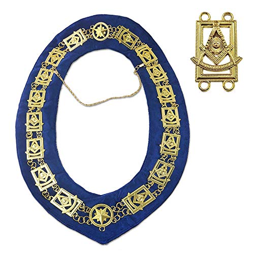 Masonic Past Master Chain Collar Gold Plated Dark Blue Suede Fabric Lodge Officers Accessories