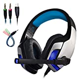 Mengshen Stereo Gaming Headset for PS4, Xbox One - Professional 3.5mm Over Ear Headphones with Mic, Noise Isolating, Bass Surround, Volume Control and LED Light - G5300 Blue