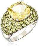 Sterling Silver Lemon Quartz with Peridot Accent Ring