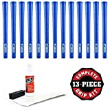 Pure Grips Wrap Grip Kit with Tape, Solvent and Vise Clamp (13-Piece), Midsize, Blue
