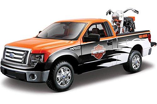 2010/1958 Ford F-150 STX Pickup Harley-Davidson / FLH Duo Glide Motorcycle, Orange, Black & White Maisto HD 32173 - 1/27 Scale Diecast Model Toy Car, /1/24 Scale Diecast Model Toy (Flh Models)