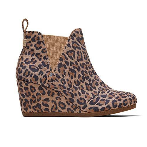 TOMS Desert Tan Leopard Suede Kelsy Bootie 10014153 (Size: 8) (Wedges Suede Womens Desert Black)