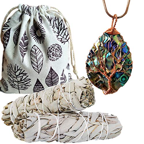 Worldly Finds Sage Smudge Sticks Smudging Kit Abalone Necklace Set, Wire Wrapped Energy Healing Abalone Pendant Necklace Metaphysical Spiritual Jewelry (Abalone Tree of Life Rose Gold ()