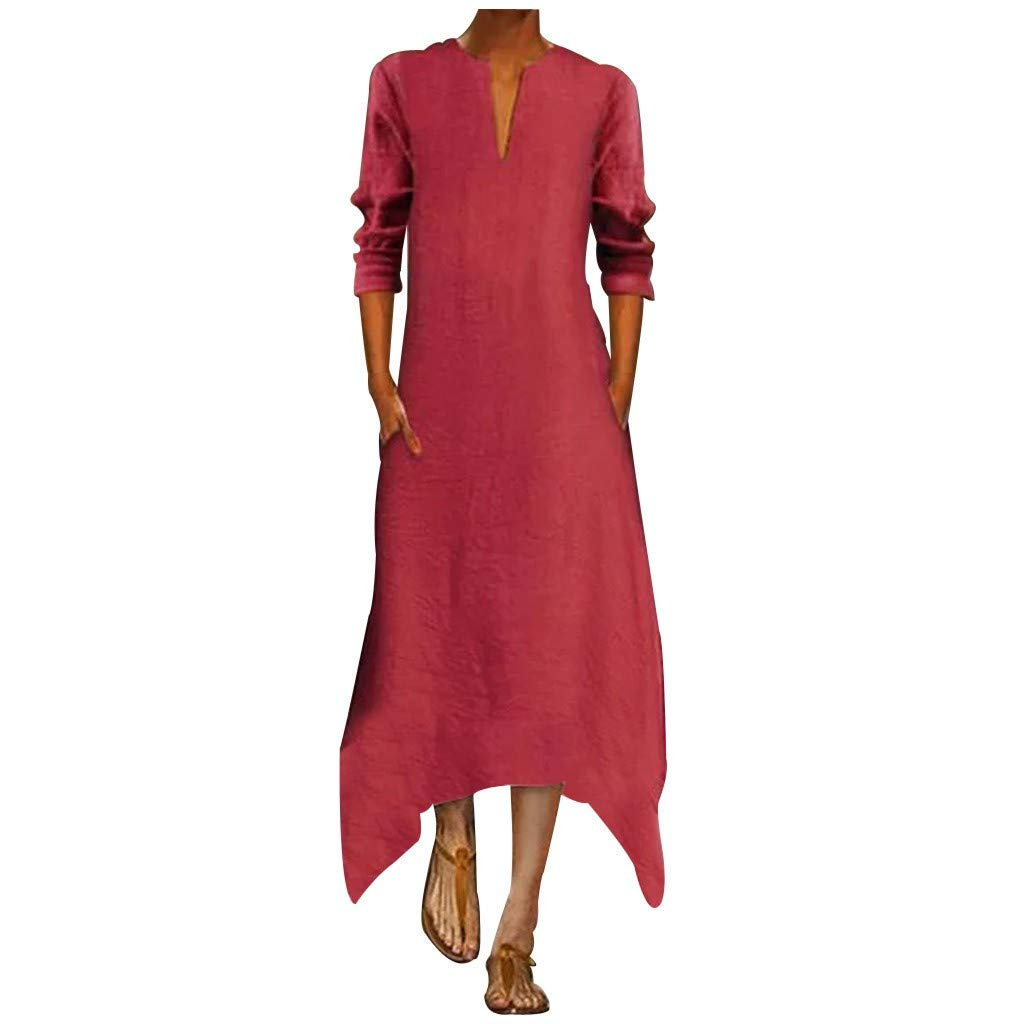 Sunhusing Women's Deep V-Neck Solid Color Cotton Linen Long-Sleeve Autumn Winter Irregular Hem Pocket Dress Red by Sunhusing