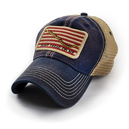 First Navy Jack Don't Tread on Me Flag Trucker Hat, Navy