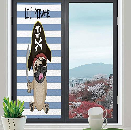 TecBillion Stained Glass Window Film,Pirate,for Bathroom Shower Door Heat Cotrol Anti UV,Buccaneer Dog in Cartoon Style Costume Holding Sword,24''x70'' -