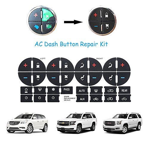 AC Dash Button Repair Kit,Strong Sticky Ruined Faded A/C Controls Decals for GM Tahoe Suburban Avalanche Silverado Yukon Denali Acadia Sierra Saturn Outlook Buick Enclave General Motors SUV (Chevrolet Car Repair)