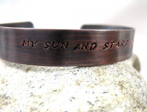 - My Sun and Stars - Game of Thrones Inspired Hand Stamped Antiqued Copper Bracelet