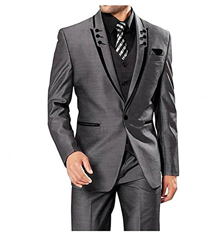 Fashion Grey 3 Pieces Men Suits Wedding Suits One Button Groom Tuxedos