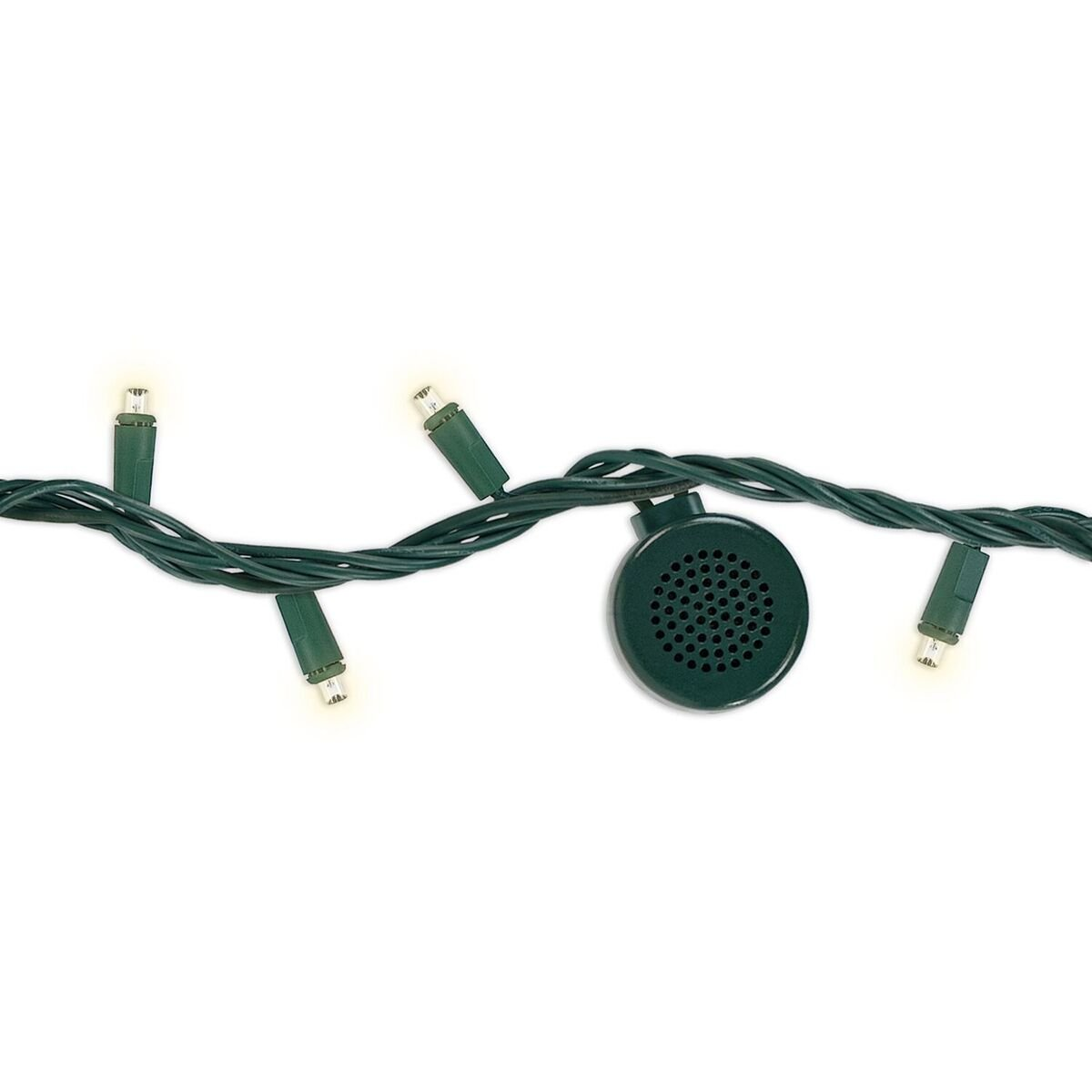 Bright Tunes Decorative String Lights with Bluetooth Speakers, Warm White LED Lights, Green Cord