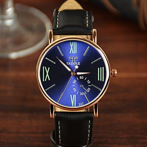 Yazole 327 lujo cuero de la PU banda analógico cuarzo mujeres hombres reloj de pulsera