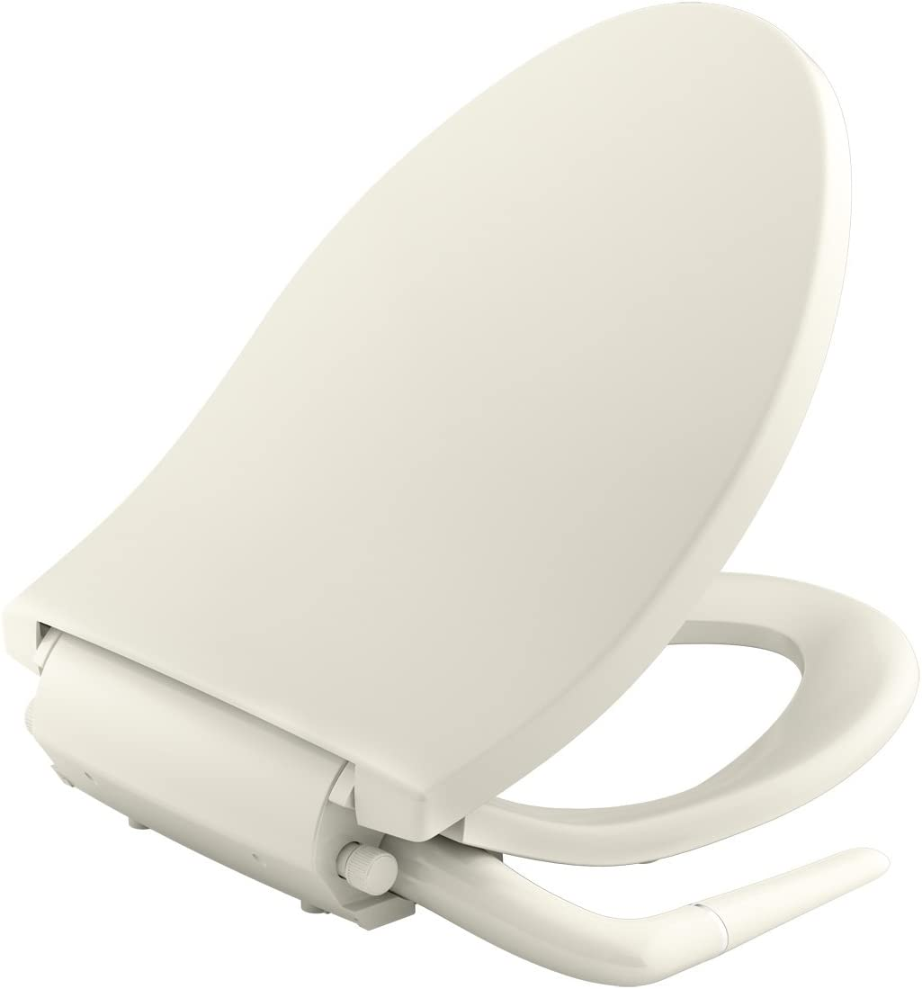 KOHLER K-5724-96 Puretide Elongated Manual Bidet Toilet Seat, Biscuit with Quiet-Close Lid and Seat, Adjustable Spray Pressure and Position, Self-Cleaning Wand