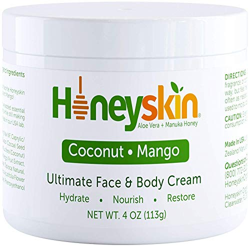 51bJ6ksCQgL - Organic Face and Body Cream Moisturizer - with Raw Manuka Honey, Shea Butter and Aloe Vera - Eczema, Acne, Redness and Dry Skin Treatment - Anti Aging and Wrinkles - Natural Coconut Mango Scent (4oz)