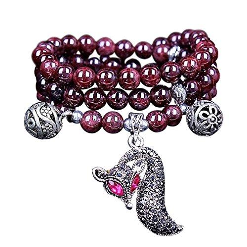 [CASOTY Natural Garnet Seductive Fox Multilayer Bracelet] (Indian Beaded Bracelet)