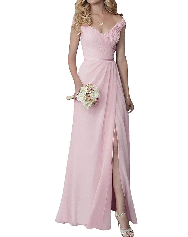 Pink EllieHouse V Neck Slit Long Bridesmaid Dress Formal Evening Gown