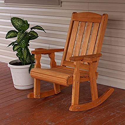 Charmant Amish Heavy Duty 600 Lb Mission Pressure Treated Rocking Chair With  Cupholders (Cedar Stain)