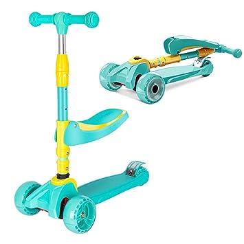 Amazon.com: Patinete plegable para niños con 3 ruedas, 2 en ...