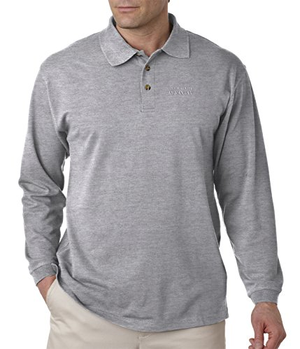Don't Mess with Arkansas Embroidery Adult Button-End Spread Long Sleeve Unisex Cotton Polo Jersey Shirt Golf Shirt - Oxford Grey, 3X Large