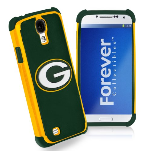 Forever Collectibles Green Bay Packers Rugged Dual Hybrid Samsung Galaxy S4 (Green Bay Packers Telephone)