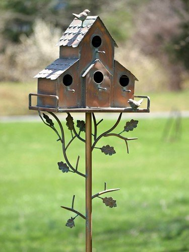 TisYourSeason Copper Finish Songbird Deluxe Bird House Condominium Stakes (Peaked)