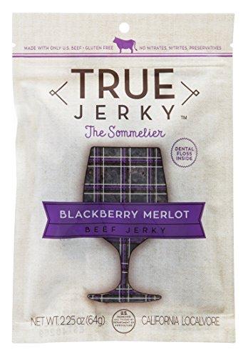 Merlot Blackberry - True Jerky Beef Jerky, Blackberry Merlot, The Sommelier, Gluten Free, No Preservatives, 2.25 Ounce (5 Pack)