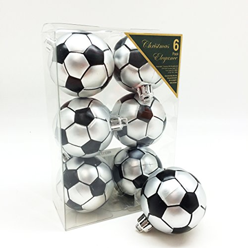 Christmas Elegance Soccer Shatterproof Sports Ball Ornaments/Decorations, Set of 6PC, 65mm (2-1/2 Inch) -