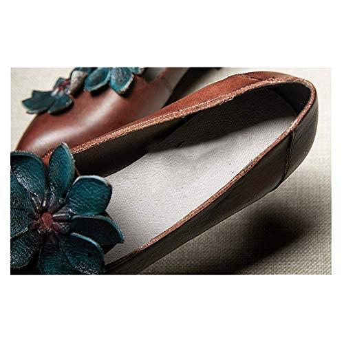 Brown Mode Rétro Polyvalent Mesdames Cuir en Pointues Décontracté ZPEDY Chaussures Simple nqcwvYHn1