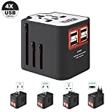 International Travel Adapter, Worldwide Travel Charger with 4 USB Ports Power Converters for EU, UK, US, USA, AU, Europe & Asia, All-in-one Universal Wall Plug Multi-Outlets Electrical Adaptor – White