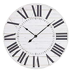 Aspire Estelle French Country Shiplap Face Wall Clock, White