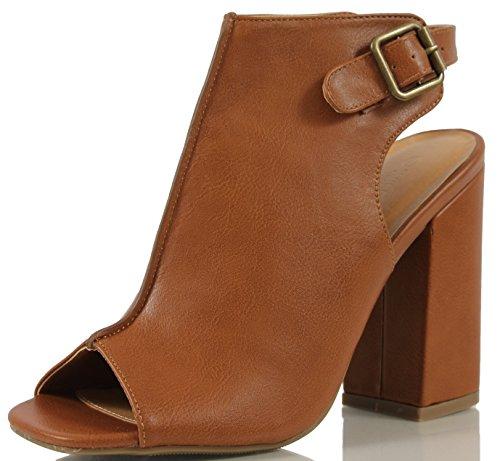 Wild Diva Women's Darlyn 01 Peep Toe Faux Leather Slingback Chunky Block Heel Ankle Boot