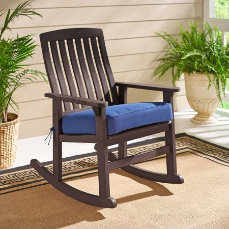 Delahey Wood Porch Rocking Chair Durable FSC-Certified Solid Hardwood Chestnut Finish (Light Brown)