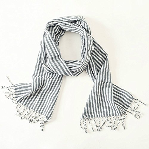 Ethical Handwoven Gray and White Stripe Scarf, Fair Trade