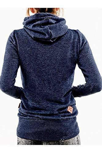 Colore Colore Colore Scuro Felpa Felpa Felpa Pullover Casual XX Cappuccio Size Scuro FuweiEncore Inverno Blu Donna Blu con Solid Plus Dimensione Large vqRd7Rwfx