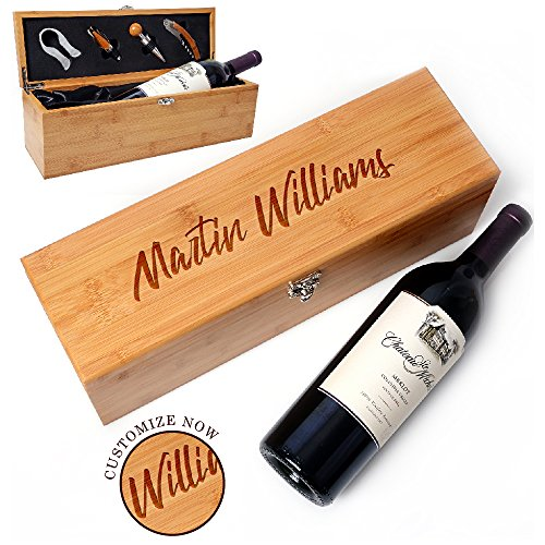 (Be Burgundy - Personalized Bamboo Single Wine Box Set with Tools - Wine Presentation Box - Anniversary Ceremony Housewarming Wedding Wine Gift Box Holder - Custom Engraved for Free -1)