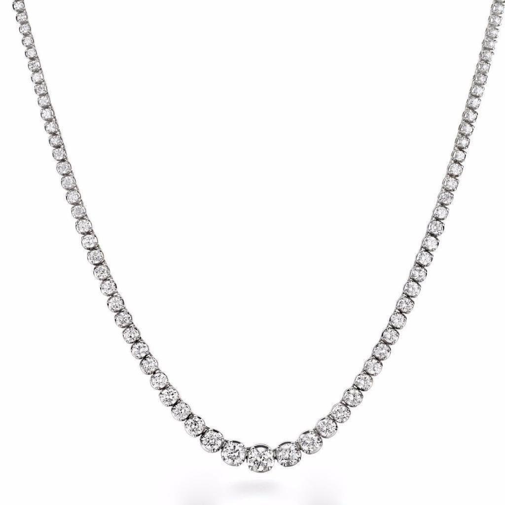 JewelMore 3ct. 4K White Gold 17 ''Graduate Diamond Tennis Riviera Necklace(3.00 cttw, H-I Color, I1-I2 Clarity) IGI Certified