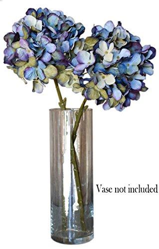 Aqua Blue Faux Silk Hydrangea Spray Pick Bouquet - Green and Purple Tinted Flower Petals Bush, 18 (Blue Hydrangeas Centerpieces)