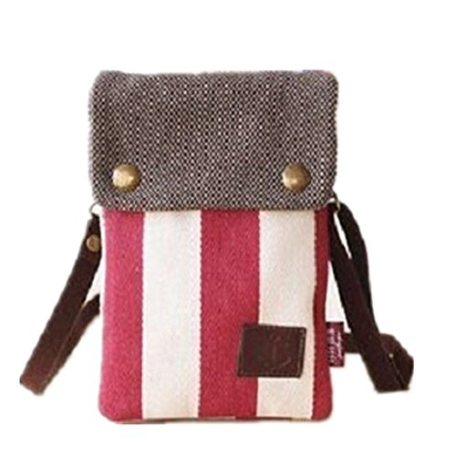 Shoulder Red Purse Crossbody Pouch Bag Cellphone Canvas YaJaMa Women 1PwCqxAwT