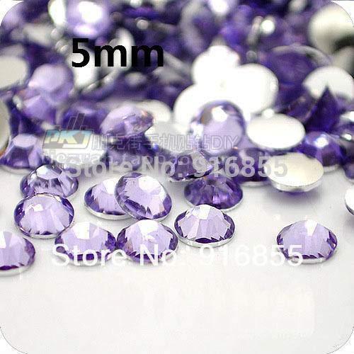 Calvas Wholesale 10000pcs SS20 5mm Light Purple Flatback Resin Rhinestones,Nail Art Rhinestones