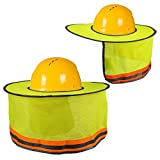 Hard Hat Sun Shade, Luter Neck Shield Sunshade with Reflective Strip and High Visable Mesh Design for Hardhats/Helmet (2Pcs)