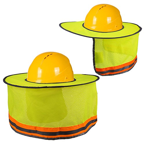 Hard Hat Sun Shade, Luter Neck Shield Sunshade with Reflective Strip and High Visable Mesh Design for Hardhats/Helmet (2Pcs) by LUTER