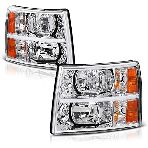[For 2007-2013 Chevrolet Silverado 1500 2500HD 3500HD Models] Chrome Bezel OE-Style Headlight Housing Headlamp Assembly Replacement, Driver & Passenger Side