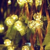Easternstar Solar String Lights Outdoor,19.6ft 30 LED Geometric Metal Stainless Steel Polyhedral Lights for Halloween Parties Home Outdoor Garden Lawn Patio Christmas Trees (Warm White)