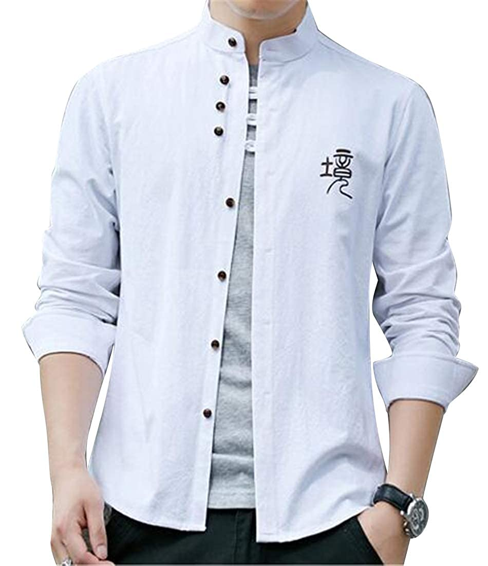 SHOWNO Mens Retro Long Sleeve Solid Color Stand Collar Business Cotton Dress Oxford Shirt