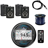 Dual Gauge Hole Mount MP3 USB Bluetooth Receiver With Dual 3-Way Indoor/Outdoor Speakers 100W 2-Pairs Black, Enrock Audio 50 16G Speaker Wire & Enrock Marine Antenna-Braided Cable -Weather Resistant