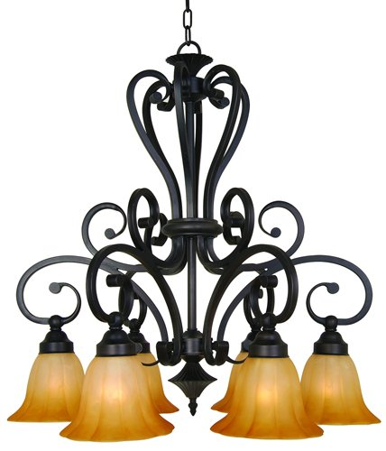 Light Six Chandelier Florence (Yosemite Home Decor 94836R-6VB Florence Chandelier with Marble Sunset Shades, 6-Down Light, Venetian Bronze)