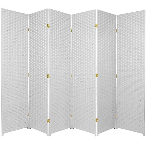 Oriental Furniture 6 ft. Tall Woven Fiber Room Divider - 6 Panel - White - Furniture White Panel