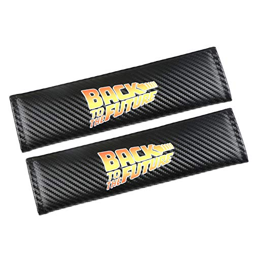 Back to The Future 2X Carbon Fiber Seat Belt Pads Gift for all models Fits All cars Sports Bags Etc